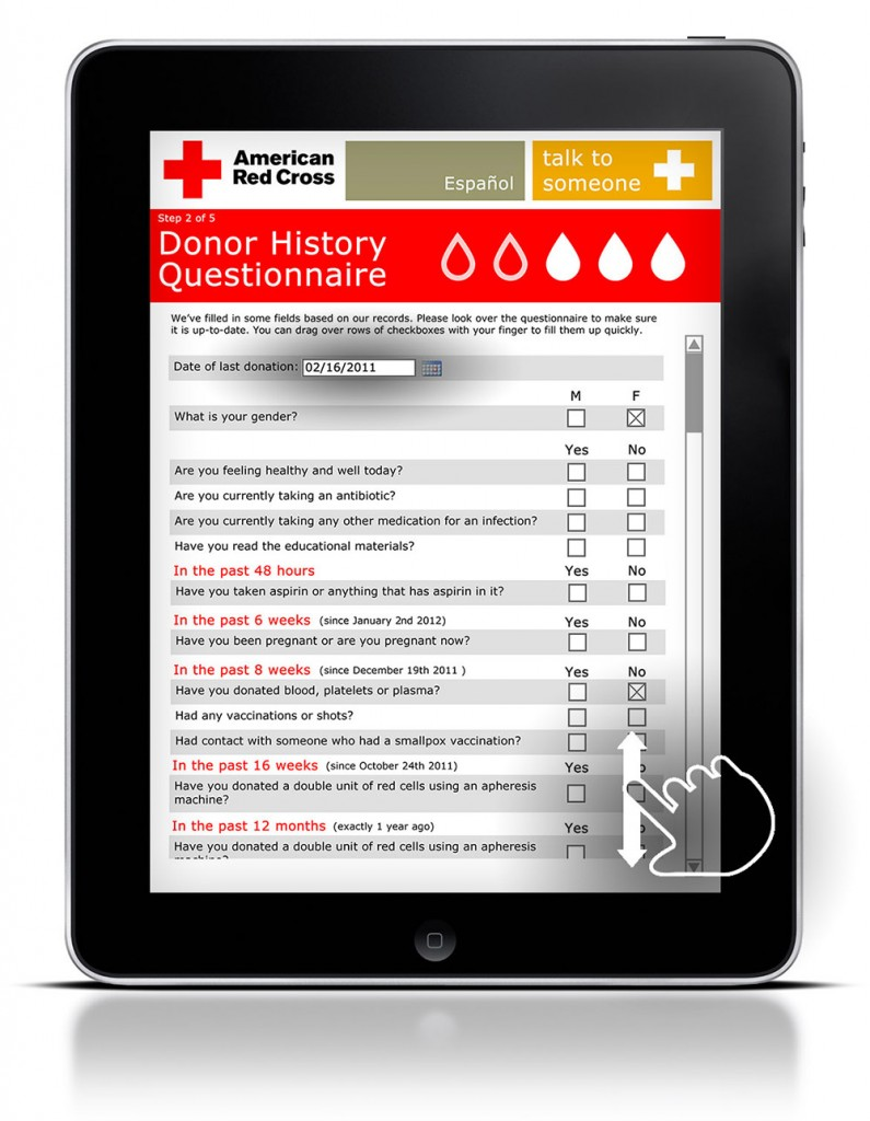 The eligibility questionnaire saves some past information for repeat donors to save them time.